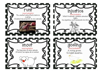 Charlotte's Web Vocabulary Cards (BILINGUAL)