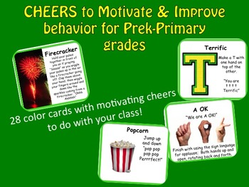 CHEERS to Motivate & Improve behavior for Pre-k & Primary grades