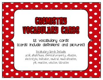 STEM Chemistry Vocabulary Cards - Acids and Bases