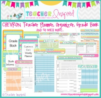 CHEVRON Teacher Planner, Grade Book, and Organizer