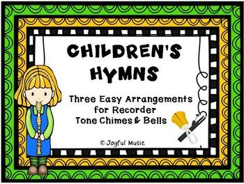 CHILDREN'S HYMNS 3 Easy Recorder, Chimes & Bells Arrangements