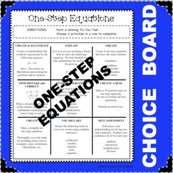 CHOICE BOARD One-Step Equations Tic Tac Toe FUN Math Activ