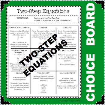 CHOICE BOARD Two-Step Equations Tic Tac Toe FUN Math Activ