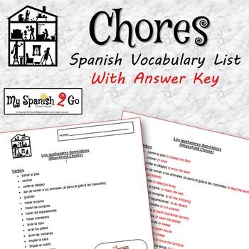 CHORES:  Vocabulary List