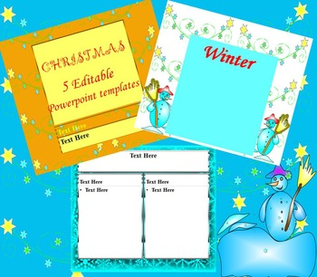 Christmas - Winter - 5 Editable Powerpoint templates