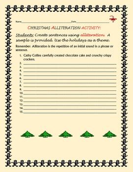 CHRISTMAS ALLITERATION ACTIVITY