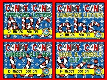 CHRISTMAS CLIP ART BUNDLE: CANDY CANE LETTERS, NUMBERS, SI