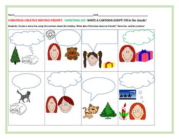 CHRISTMAS CREATIVE WRITING PROMPT:  CREATE A CARTOON SCRIP