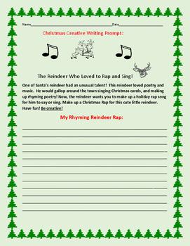 CHRISTMAS CREATIVE WRITING PROMPT: REINDEER RAP