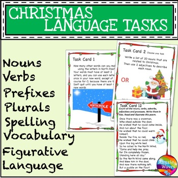 CHRISTMAS LANGUAGE ARTS SKILLS Task Cards Literacy Prefix