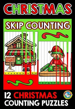 CHRISTMAS MATH CENTER: CHRISTMAS SKIP COUNTING PUZZLES: SA