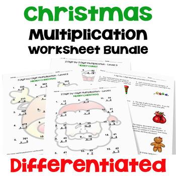 Christmas Multiplication Worksheet Bundle (3 Levels PLUS W