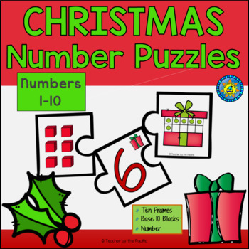 CHRISTMAS Math Number Puzzles 1 – 10 - Ten Frames and Base