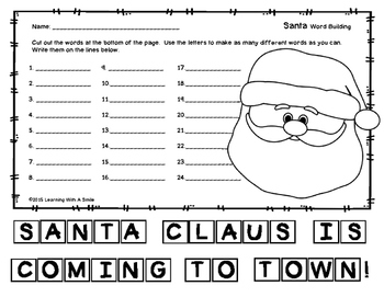CHRISTMAS (SANTA) FREEBIE - Word Building - Great Activity
