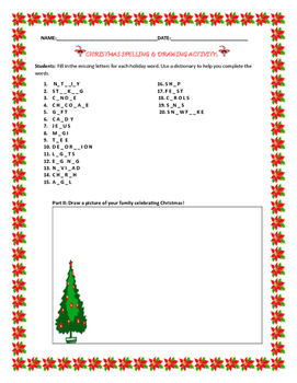 CHRISTMAS SPELLING & WRITING ACTIVITY