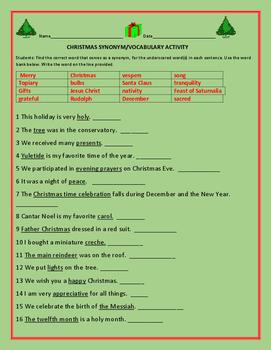 CHRISTMAS SYNONYM/ VOCABULARY ACTIVITY