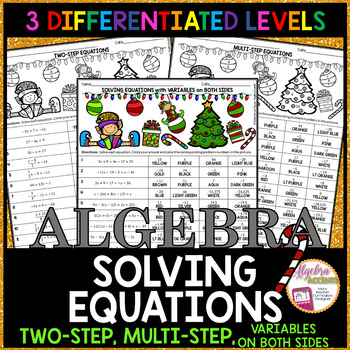 Christmas Algebra: Solving Equations Coloring Activity