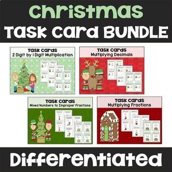Christmas Math Task Card Bundle - 144 Task Cards (3 Levels)