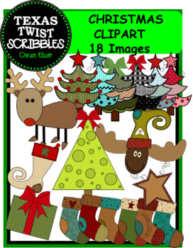 CHRISTMAS TREE CLIP ART WITH SET OF 6