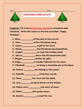 CHRISTMAS VERB ACTIVITY: GRADES 3-6