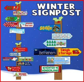 CHRISTMAS WINTER READING SIGNPOSTS DISPLAY TEACHING RESOUR