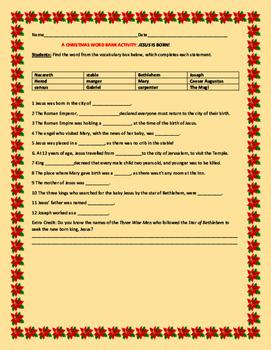 CHRISTMAS WORD BANK ACTIVITY: JESUS IS BORN!  GRADES 4-8
