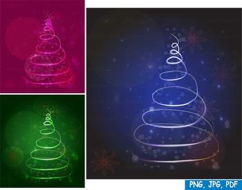 CHRISTMAS tree 2016 Snow PNG PDF JPG ORNAMENT Clip Art inv