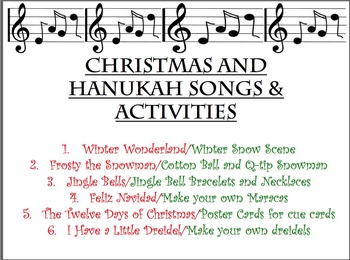 CHRISTMAS/HANUKAH/WINTER SONGS AND ACTIVITIES