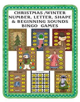 CHRISTMAS/WINTER NUMBER,LETTER,SHAPE, and BEGINNING SOUNDS