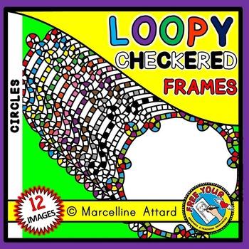 CIRCLE FRAMES: CIRCLE LOOPY CHECKERED FRAMES CLIP ART