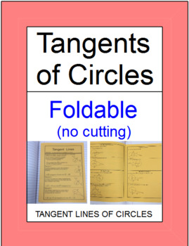 CIRCLES:  TANGENT LINES OF CIRCLES - FOLDABLE FOR INTERACT
