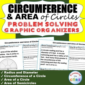 CIRCUMFERENCE and AREA of CIRCLES Word Problems with Graph