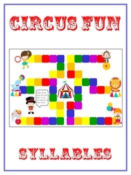 CIRCUS FUN Syllables - ELA First Grade Folder Game - Word