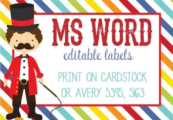 CIRCUS - Labels, MS Word, editable