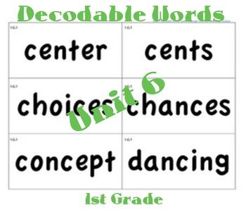 CKLA 1st Grade Unit 6 Decodable Words Flash Cards