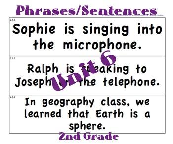 CKLA 2nd Grade Unit 6 Phrases/Sentence Cards