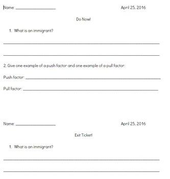 CKLA 2nd grade immigration (lessons 1-5)