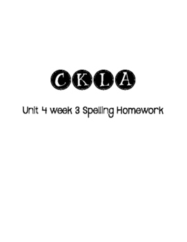 CKLA 3rd Grade Unit 4 Week 3 Spelling Homework