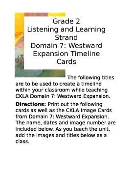CKLA Domain 7: Westward Expansion Timeline Cards