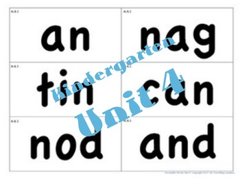 CKLA Kindergarten Unit 4 Decodable Words Flash Cards