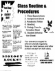 CLASS ROUTINES, RULES, 1ST DAYS HANDOUTS