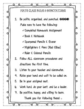 CLASS RULES EXPECTATIONS PRINTABLE FOR INTERACTIVE NOTEBOO