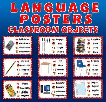 CLASSROOM OBJECTS / STATIONARY LANGUAGE POSTERS- SPANISH F