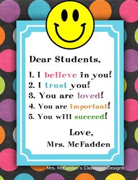 EDITABLE CLASSROOM POSTER... Dear Students