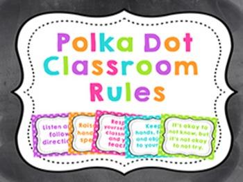 CLASSROOM RULES - BRIGHT COLORFUL POLKA DOTS