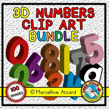 3D NUMBERS CLIPART BUNDLE: SOLID SHAPES CLIPART NUMBERS: M