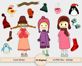 CLIP ART: Cute little girls and winter elements - kids and