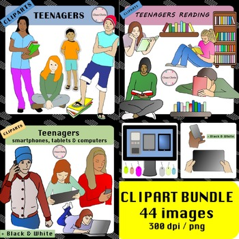 CLIPART Bundle: Teenagers reading / teenagers & devices