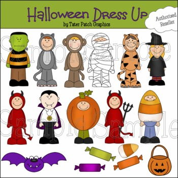 CLIPART-Halloween Dressup Graphics(Personal Commercial Costumes)