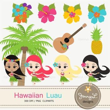 CLIPART: Hawaiian Luau Party Clipart, Hula Girls, Coconut,